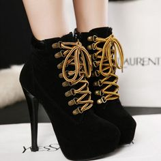 High Heel Lace Up Ankle European Style Martin Boots - Gchoic.com #shoes #fashion #women #poplar #beautiful