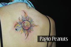 Sun and spiral watercolor custom tattoo. Design by me