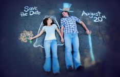 Save the Date pic idea - how freaking cute is this chalk drawing??