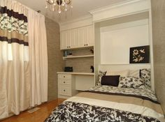 right to ceiling Wall Beds, Custom Cabinetry, Murphy Bed, Two Bedroom, Storage Solutions, Shelving, Kids Room, Ceiling, Studio