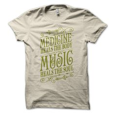 Music Heals Unisex Tee Cream  by Status Serigraph