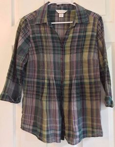 Christopher Banks Peasant Blouse Cotton Gauzy Collared Button/Pleated 3/4 Cuffed #ChristopherBanks #ButtonDownShirt #Casual