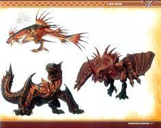 MH Illustrations ~ Plesioth, Monoblos, and Tigrex.