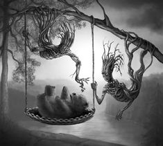 Birth of the Bear (Karhun synty) by TeroPorthan on DeviantArt Beautiful Drawings, Cute Drawings, Horror Music, Traditional Stories, Nature Spirits, Poetry Art, Monochrome Color, I Really Love You, Best Horrors