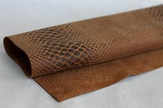 Rusty Brown  Genuine Leather   Snakeskin by JLLeatherSupplies