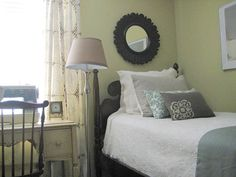 Using a small desk next to your bed will create a dual-purpose opportunity. Not only does it act as an oversized nightstand, but pair it with a small chair to serves as a work surface, too. Helpful Hint: Look for small-scale, previously-loved desks at flea markets to add instant charm to your presently-loved bedroom. Photo courtesy by AnNicole Faeth.