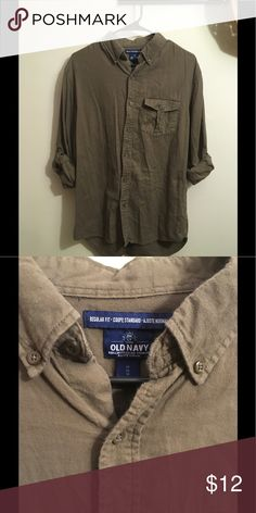 Old Navy Button Down Shirt Olive green regular fit button down.Long Sleeved with buttons to hold rolled up sleeves. In good condition. Old Navy Shirts Casual Button Down Shirts