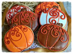 Decorated Pumpkin, Autumn, Fall, Thanksgiving, Shortbread Sugar Cookie Favors, Orange, Copper, Brown, White, $48.0