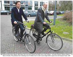 The Hague The Netherlands :: Prime Minister Mark Rutte [left] Riding to & from Work √