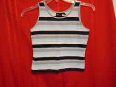 TEK GEAR Athletic Tank top Stripe Green Gray Navy White Size M Scoop Neck  #TekGear #ShirtsTops