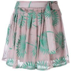 Ann Demeulemeester Plants Motif Embroidered Shorts (360 CAD) ❤ liked on Polyvore featuring shorts, ann demeulemeester, green shorts, pink shorts and embroidered shorts