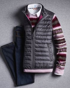 We're saying Fairisle to summer and layering up with these seasonal staples. What's your favorite thing to wear for fall? Down Vest, Brooks Brothers, Pink Fashion, Pretty In Pink, Merino Wool, Preppy, Layering, Essentials, Feminine