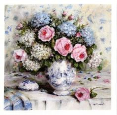 Fabric print - Florals in Blue & White Vase large - Postage is included Australia Wide