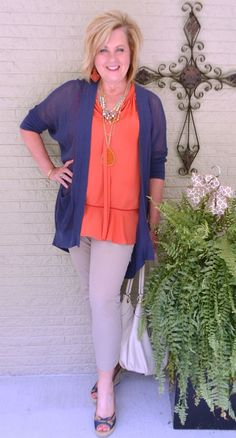 50 IS NOT OLD | WHAT GOES WITH ORANGE | Navy and Orange | UVA | Lightweight Cardigan | Cover my arms | Fashion over 40 for the everyday woman