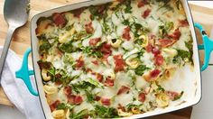 This cheesy pasta bake is packed with bacon and spinach and is great served with a fresh green salad.