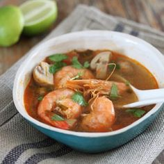 Tom Yum Soup with Prawns - Bits Of Carey Seafood Recipes, Cooking Recipes, Tom Yum Soup, Thai Soup, Banting Recipes, Calamari, Mussels, Prawn, I Foods