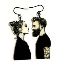 Romantic Couple in Love, Modern Black & white Art Print, Boyfriend Girlfriend Gift, hipster man, Dangle Long Earrings, Valentines Day Gift