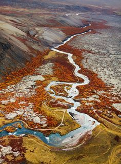 autumn, Nordlingafljót River running through a Hallmundarhraun lava field near Gráhraun, Iceland | Diana Michaels via flickr
