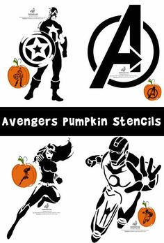 Here are six brand new pumpkin carving stencils of The Avengers characters - Captain America, Hulk, Thor, Black Widow, and Iron Man - plus the Avengers logo! Disney Pumpkin Stencils, Disney Pumpkin Carving, Halloween Pumpkin Carving Stencils, Pumpkin Carving Party, Halloween Pumpkins, Pumpkin Carvings, Printable Pumpkin Carving Patterns, Printable Pumpkin Stencils, Pumpkin Template