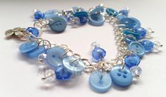Buttons Blue Bracelet by MissPajuCraft on Etsy Heart Bracelet, Bracelets, Crystal Beads, Crystals, Buttons, Trending Outfits, Unique Jewelry, Handmade Gifts, Blues
