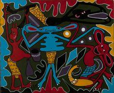 George Lilanga (Tanzanian, 1934–2005) Nipeleke Hospitalini Mimi Naumwa Sana, before 1998 Lot 12, Circle Art Agency // #Africa // Okayafrica