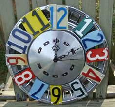 New use for an old hubcap and old license plates: A Hubcap Clock!