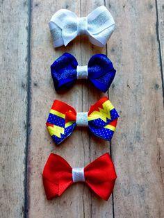 Wonder Woman Mini Bow Hair clip set (4) | WW | headband | Magic Lasso | DC comics | superhero by ShopSassyBabes on Etsy https://www.etsy.com/listing/248884489/wonder-woman-mini-bow-hair-clip-set-4-ww