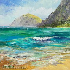 WAIMANALO BEACH Framed Original Oil Painting Art by lisabongzee, $95.00