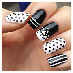 Black/White, Lines, Stripes, Polka Dots, Dots, Nail Art
