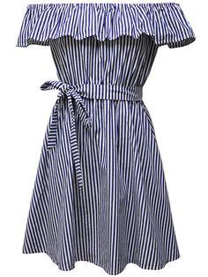 Off Shoulder Bowknot Flounce Striped Skater Dress
