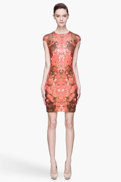 MCQ ALEXANDER MCQUEEN Red and brown floral print stretch Dress