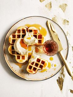 brown butter waffles with whipped maple butter from donna hay magazine