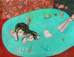 "Alexandra Levasseur, Spring Love I | 14X11"": acrylic&colored pencils /160g paper"