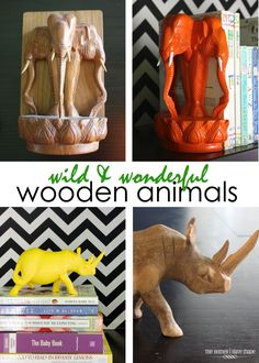 These lovely wooden animals destined for the charity box...until I transformed them into something wild & wonderful! Let me show you how I did it!