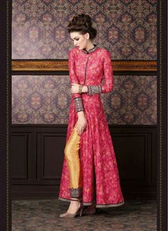Hot Pink and Yellow Silk Trendy Churidar  Suit
