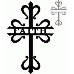 Faith split cross silhouette by hilemanhouse on Etsy Cross Silhouette, Silhouette Design, Cross Patterns, Scroll Saw Patterns, Vinyl Crafts, Vinyl Projects, Kreutz Tattoo, San Damian, Cross Drawing