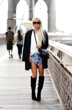 Spring Outfits 2015: 50 Flawless Looks to Copy Now - casual white t-shirt, baggy frayed shorts, a black coat and matching knee high boots