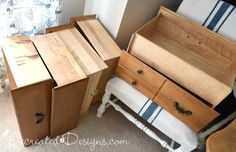 What do you do with a pile of dresser-less drawers?  Turn them into a unique bookshelf that is perfect for a narrow or small space! Last summer I had some extra…