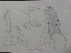 Pencil drawing on wax paper. Pose Girl. Draw the naked body of a girl in different poses.