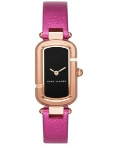 Marc Jacobs Women's The Jacob Metallic Fuchsia Leather Strap Watch 20x31mm MJ1502 - Pink