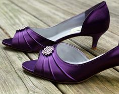 Womens Spring Summer Fall Silk Wedding Dress Low Heel Satin Flower Blue Purple Red Ivory Champagne