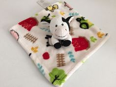Little Miracles White Cow Barn Farm Security Blanket Plush Baby Lovey COSTCO #LittleMiracles