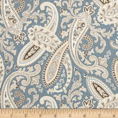 Covington Ballard Paisley Blue from @fabricdotcom Screen printed on cotton duck; this medium weight fabric is very versatile. This fabric is perfect for window treatments (draperies, valances, curtains, and swags), bed skirts, duvet covers, pillow shams, accent pillows, tote bags, aprons, slipcovers and upholstery. Colors include white, taupe, tan and dusty blue.