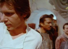 Harrison Ford and Billy Dee Williams on Jabba's Palace set.