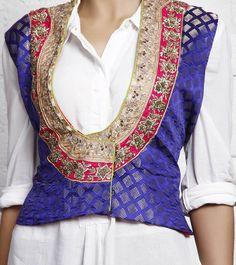 Blue Silk Brocade Jacket  https://www.facebook.com/nikhaarfashions