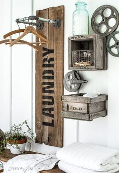 industrial farmhouse laundry hangups you ll want closet crafts fences home decor how to laundry rooms organizing outdoor living painting plumbing repurposing upcycling rustic furniture shelving ideas storage ideas tools wall decor Palette Deco, Crate Shelves, Box Shelves, Storage Shelves, Laundry Signs, Laundry Hanger, Laundry Drying, Laundry Hanging Rack, Laundry Room Design