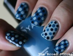 Blue polka dot mani! - Would look great with all your denim fashions!