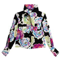 Chanel Floral Neck Tie Shirt