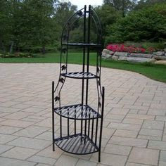 Oakland Living 60-in Black Wrought Iron Corner Plant Stand 5198-bk