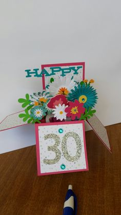 Happy Birthday pop up box card box card using Close To My Heart Flower Market Cricut. Birthday Greetings For Daughter, 30th Birthday Cards, Birthday Cards For Brother, Birthday Card Sayings, Birthday Party Tables, Birthday Cards For Women, Birthday Box, Happy Birthday, Happy 30th